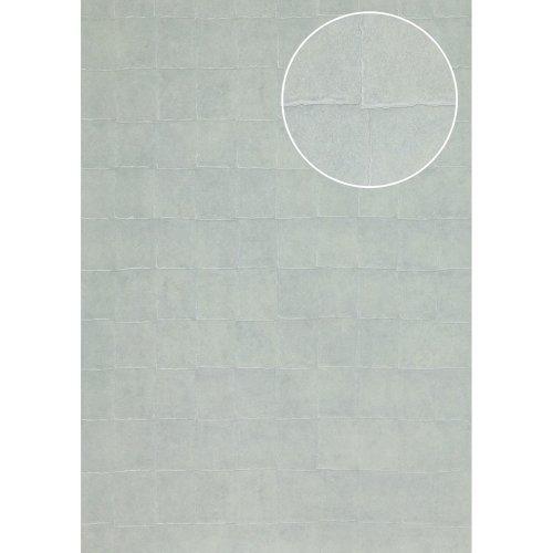 Atlas INS-5080-7 Stone tile wallpaper shimmering silver-grey blue 7.035 sqm