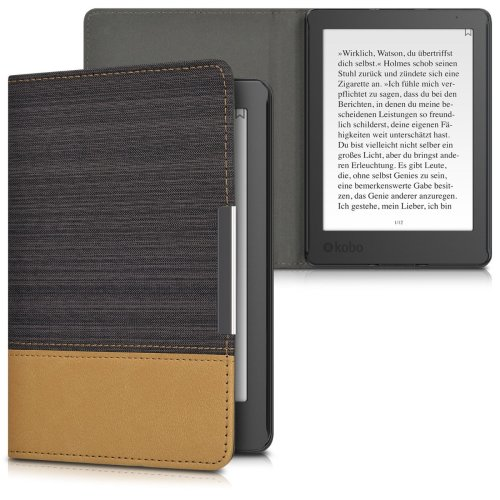 kwmobile Case for Kobo Aura Edition 2 - PU Leather and Canvas Protective e-Reader Cover Folio Case - Black Brown