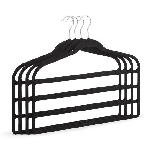 Set of 4 Non Slip Trouser Hangers In Black Velvet Soft Touch