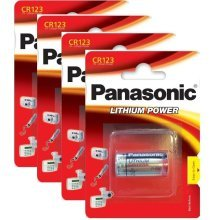 4 x Panasonic CR123A 3V Lithium Photo Battery 123 CR123 DL123 CR17345 Camera