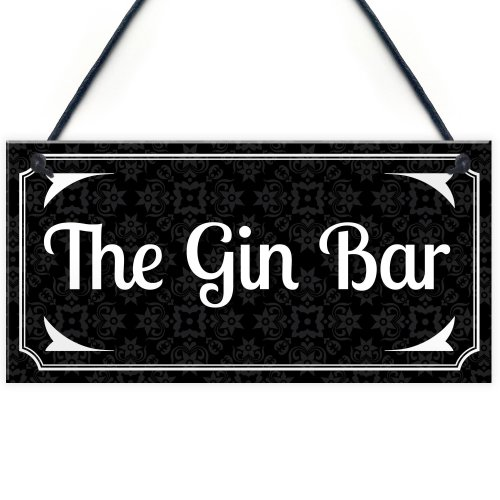RED OCEAN Vintage The Gin Bar Hanging Plaque Home Bar Gift Signs Gifts for Men Man Cave Sign Pub Kitchen Wall