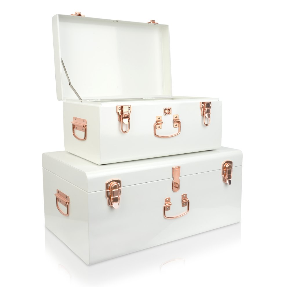 2pc Large White U0026 Rose Gold Steel Storage Trunks On OnBuy