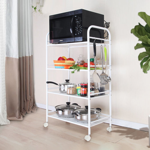 Rolling Trolley Cart 3/4/5 Tiers Storage Shelving Rack with Wheel Kitchen