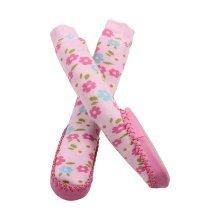 Minene Pink Flowers Sock Slippers (6-12 Months)