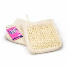 Sisal & Cotton Mitt Mitten Brush Scrub Scrubber Shower Bath Body Cleaning Glove