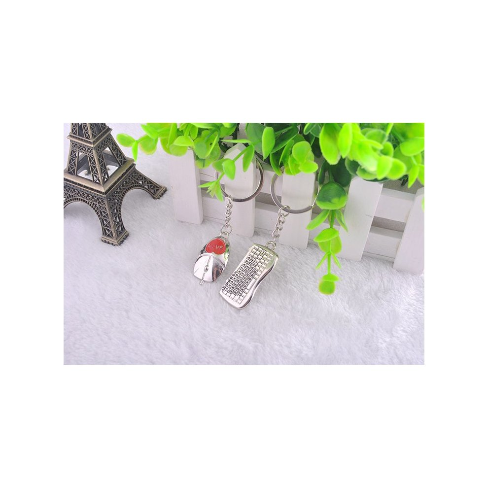 4a3ddf7586 ... Keyboard Mouse Love Heart Silver Metal Couple Keyrings Lovers Puzzle Key  Chains Novelty Gift Present ...