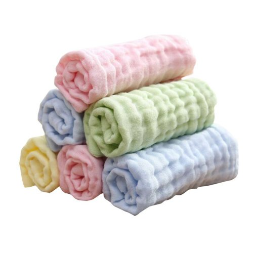 High Quality 6 Layers Baby Gauze Baby Towels Whitebluegreen