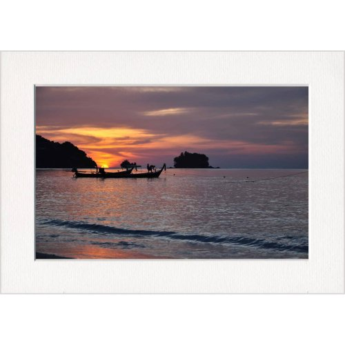 Tropical Island Sea Sunset Print in a Textured Card Picture Mount to put into your own frame