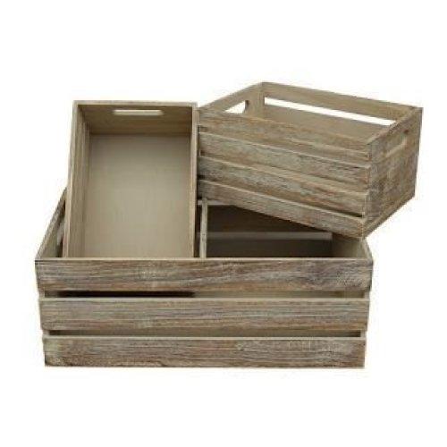 Set of 3 Oak Effect Wooden Open Top Storage