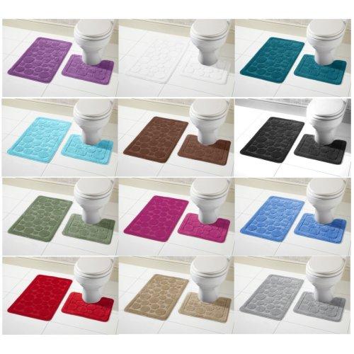 Cali Bath Mat Set 2 Piece Non Slip Rubber Pedestal Mat Toilet Bathroom Mat