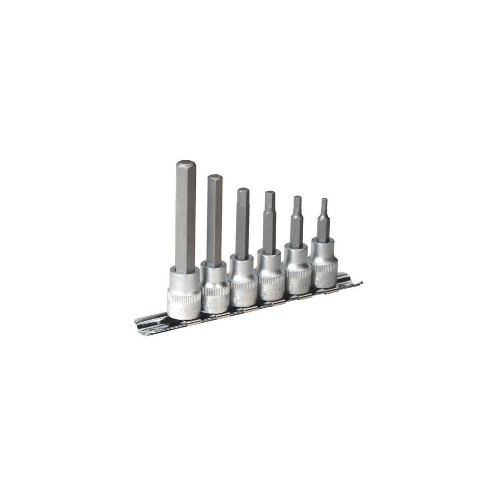 Sealey AK6209 6pc 38quotSq Drive Hex Socket Bit Set with Rail  Metric