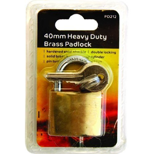 Blackspur Bb-pd212 Heavy Duty Padlock With Hardened Shackle - Brass 3 Keys -  heavy duty brass padlock 3 keys travel suitcase luggage door gate shed