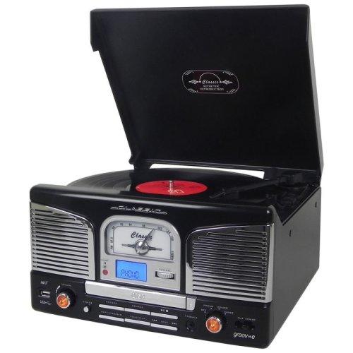 Groov-e GVTT03CM Music Centre-Vinyl Record Player Turntable, CD, USB & FM Radio