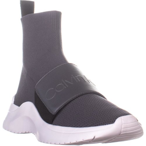 Calvin Klein Uni Stretch High Top Sneakers, Steel Greystone, 4.5 UK