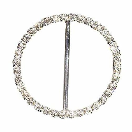 10 x Beautiful Round Sparkly Diamante Ribbon Slider Buckle Great For Chair Cover Sashes (BK35)