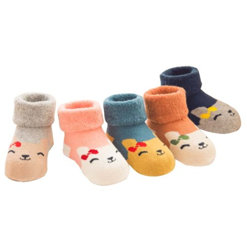 5 Pairs Baby Winter Socks Thick Terry Socks Warm Cotton Socks [C]