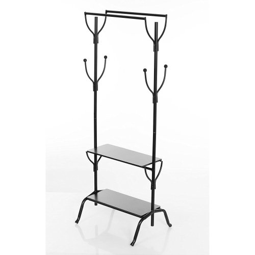 Vintage Style Metal Clothes Rack With Twin Rails & Wooden Shelves